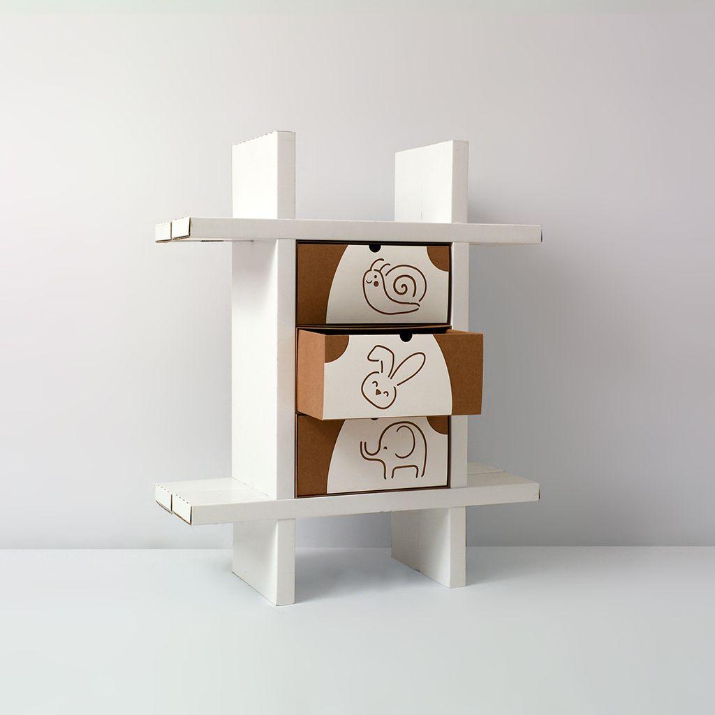 Libreria per bambini animal mini - Mobili in cartone pressato ...