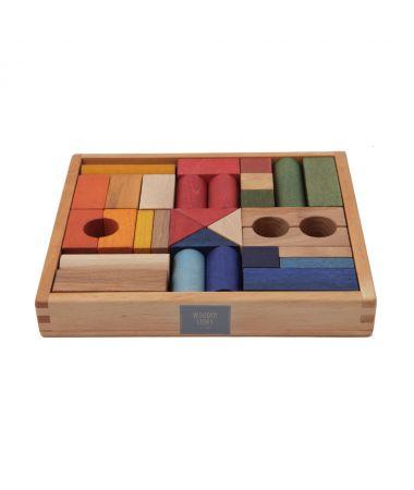 Blocchi da costruzione Legno Rainbow Colorati 30 pezzi