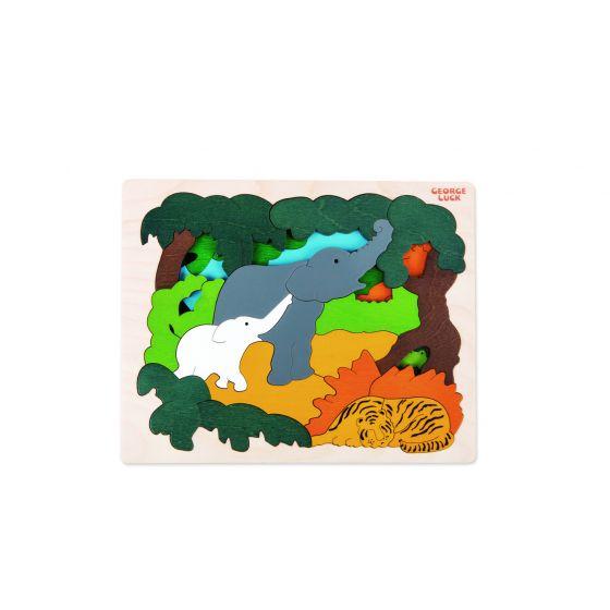 Puzzle legno Animali Asiatici 2 strati