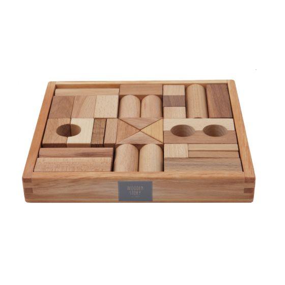 Blocchi da costruzione Legno Naturale 30 pezzi | Wooden Story