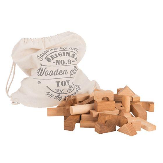 Blocchi da costruzione Legno Naturale 100 pezzi | Wooden Story