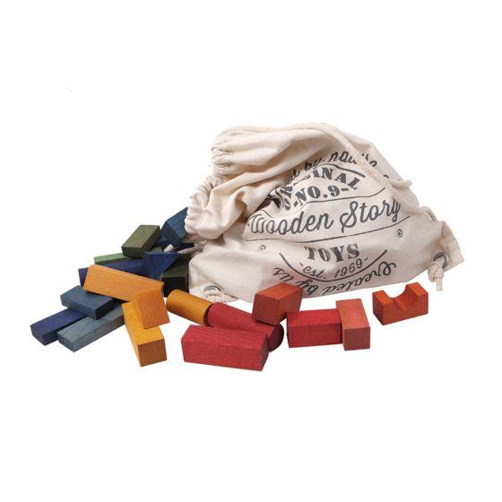 Blocchi costruzione Legno colorati Rainbow 100 pezzi | Wooden Story
