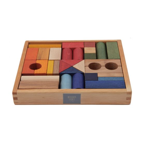 Blocchi da costruzione Legno colorati Rainbow 30 pezzi | Wooden Story